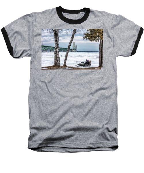 Baseball T-Shirt featuring the photograph Snowmobile Michigan  by John McGraw