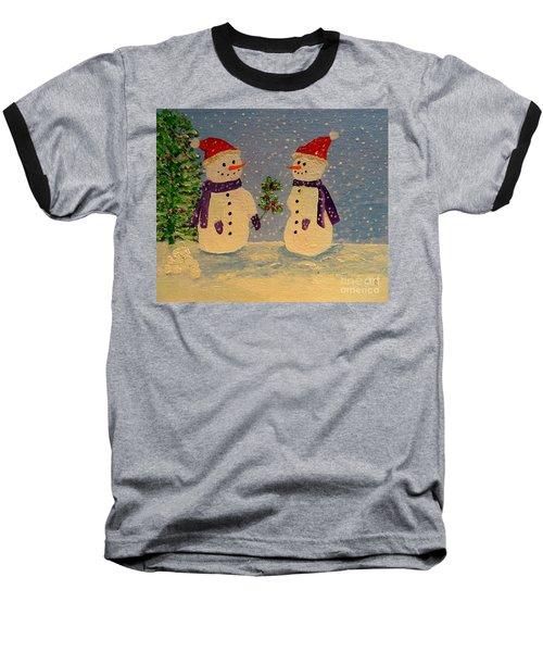 Snow-people At Christmas Baseball T-Shirt