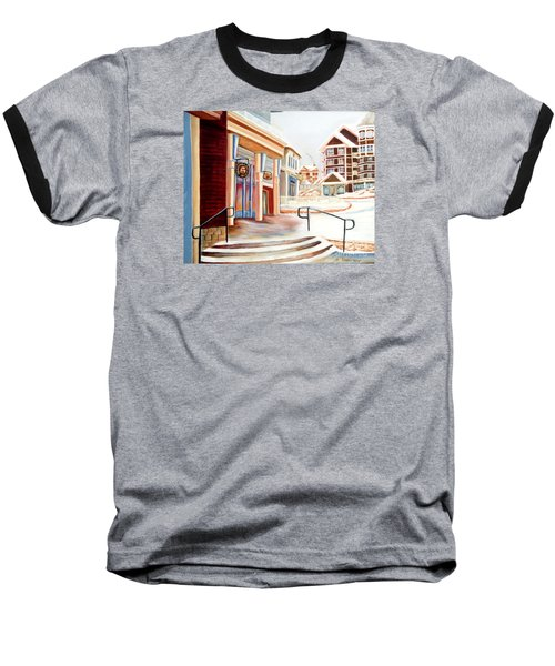 Baseball T-Shirt featuring the painting Snowshoe Village Shops by Shelia Kempf