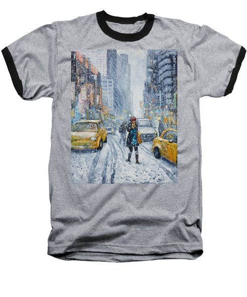 Urban Snowstorm Baseball T-Shirt