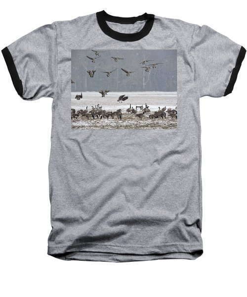 Snowy Approach Baseball T-Shirt