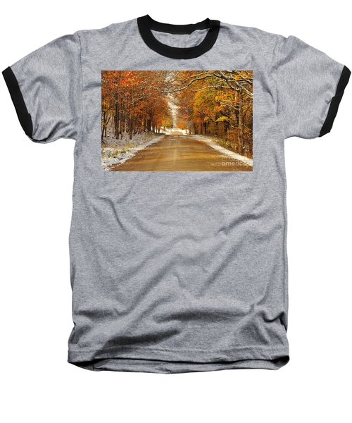 Snowy Autumn Morning In Pure Michigan Baseball T-Shirt
