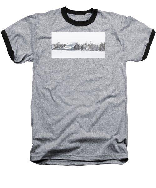 Snowy Barn Baseball T-Shirt by Dan Traun