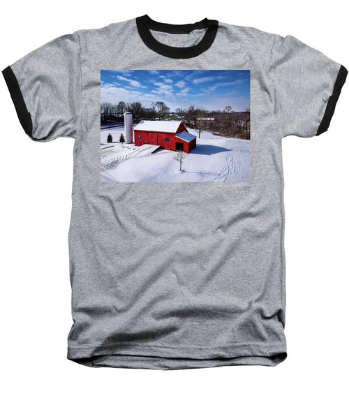 Snowy Barn Baseball T-Shirt