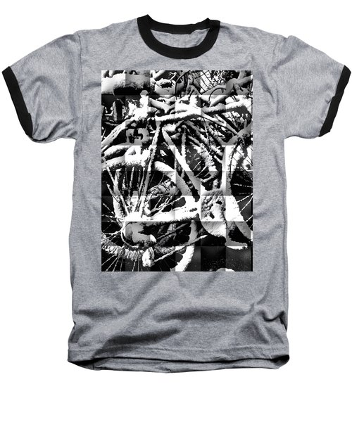 Snowy Bike Baseball T-Shirt by Joan Reese