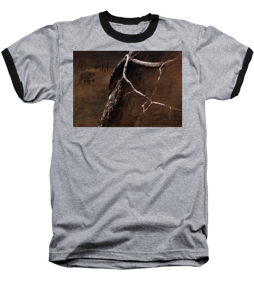 Snowy Branch With Wild Boars Baseball T-Shirt