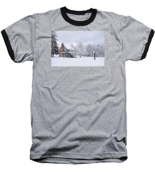 Snowy Cabin Baseball T-Shirt by Benanne Stiens