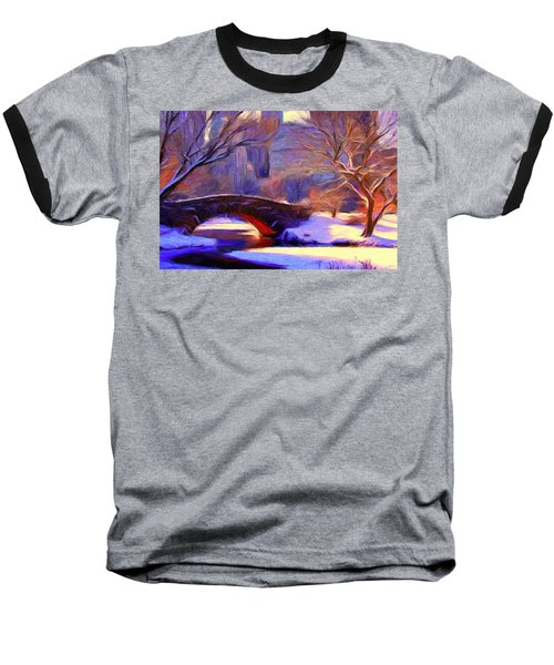 Snowy Central Park Baseball T-Shirt