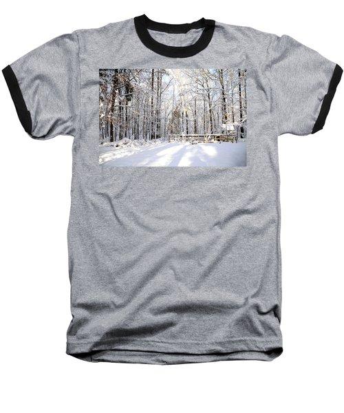 Snowy Chicken Coop Baseball T-Shirt