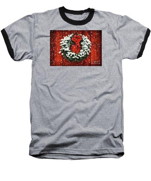 Snowy Christmas Wreath Baseball T-Shirt by Lois Bryan