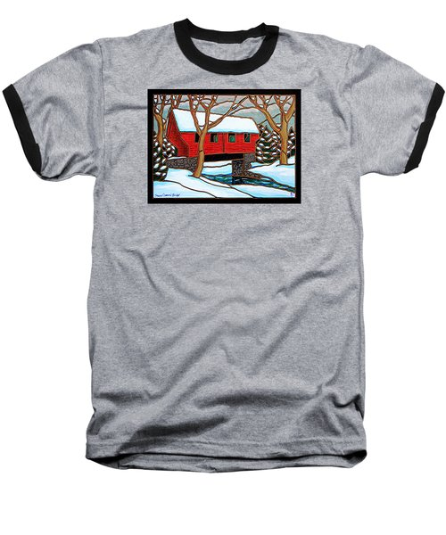 Snowy Covered Bridge Baseball T-Shirt by Jim Harris