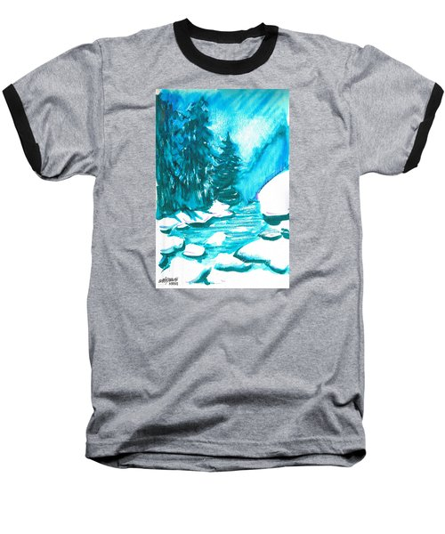 Baseball T-Shirt featuring the mixed media Snowy Creek Banks by Seth Weaver