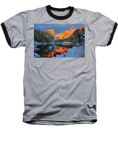 Snowy Dawn At Dream Lake Baseball T-Shirt