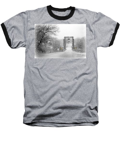 Snowy Day And One Lane Bridge Baseball T-Shirt by Kathy M Krause