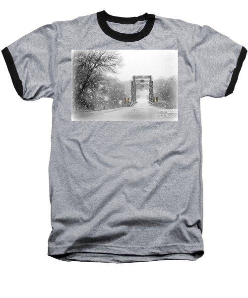 Snowy Day And One Lane Bridge Baseball T-Shirt