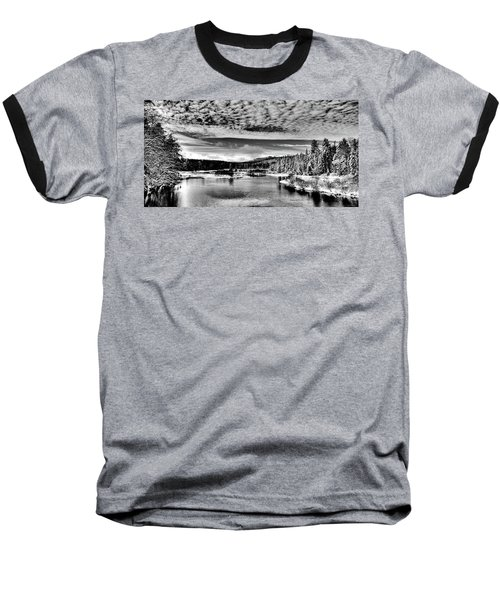 Snowy Day At The Green Bridge Baseball T-Shirt by David Patterson
