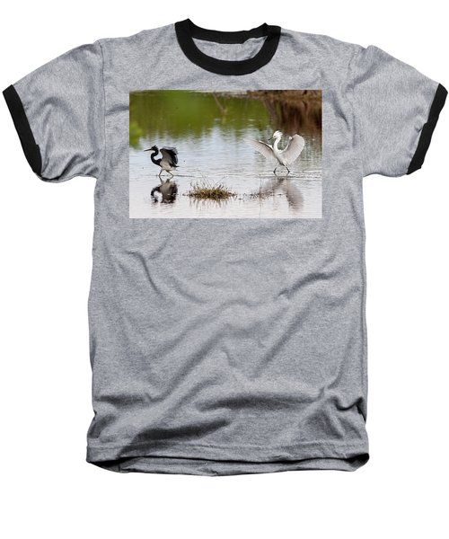 Snowy Egret Chasing Other Bird Out Of Feeding Area Baseball T-Shirt