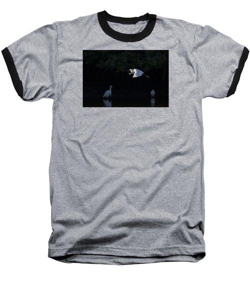 Snowy Egret Gliding In The Morning Light Baseball T-Shirt
