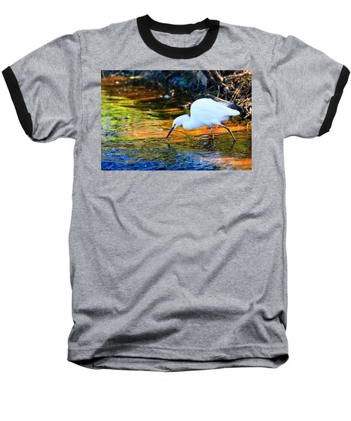 Snowy Egret Hunting 2 Baseball T-Shirt