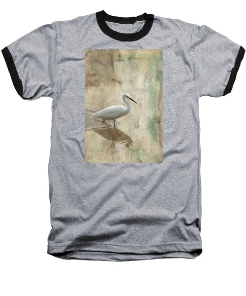 Baseball T-Shirt featuring the mixed media Snowy Egret In Grunge by Rosalie Scanlon