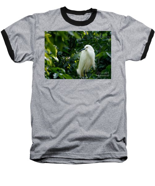 Snowy Egret In The Trees Baseball T-Shirt