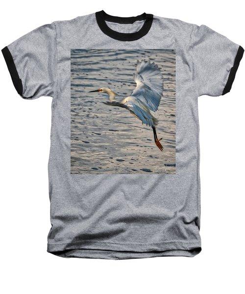 Snowy Egret Landing Baseball T-Shirt