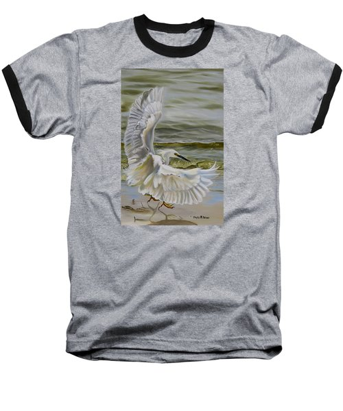 Baseball T-Shirt featuring the painting Snowy Egret Landing On The Shore by Phyllis Beiser