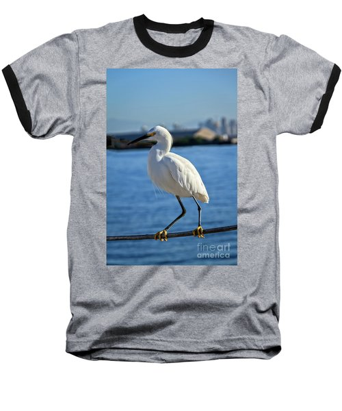 Snowy Egret Portrait Baseball T-Shirt by Robert Bales