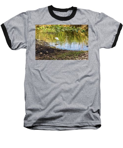 Snowy Egret Reflections Baseball T-Shirt