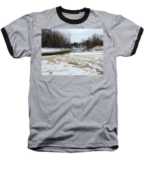 Snowy Elk Rapids River Baseball T-Shirt