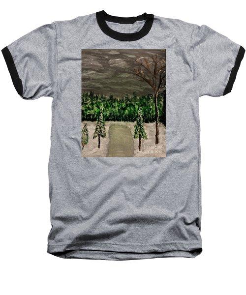 Snowy Field Baseball T-Shirt