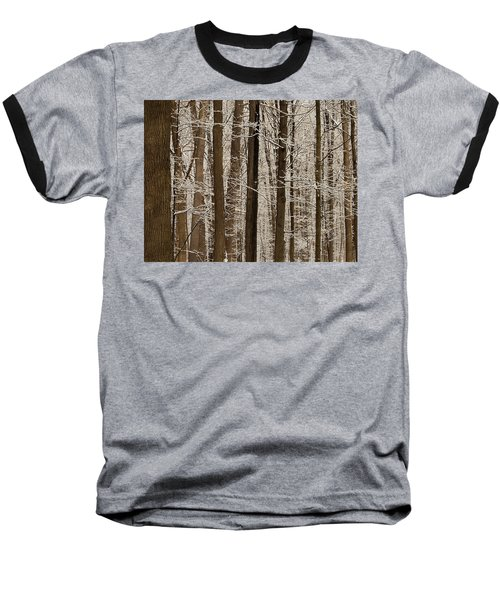Snowy Forest Elevation Baseball T-Shirt