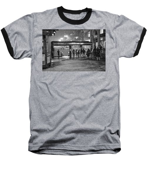 Snowy Harvard Square Night- Harvard T Station Black And White Baseball T-Shirt