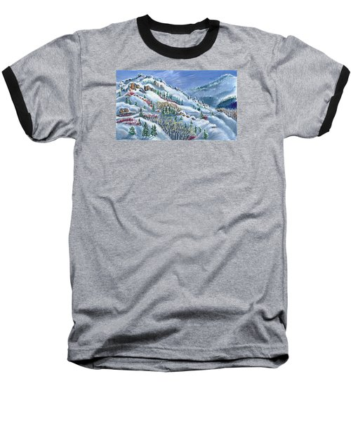 Baseball T-Shirt featuring the painting Snowy Mountain Road by Dawn Senior-Trask