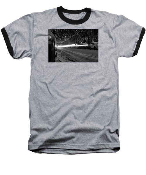 Snowy Night Light Trails Baseball T-Shirt