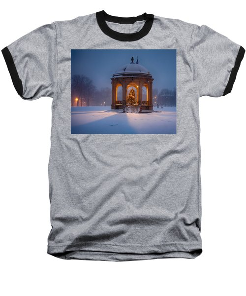 Snowy Night On The Salem Common Baseball T-Shirt