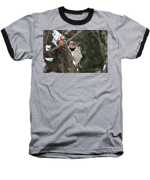 Snowy Northern Flicker Baseball T-Shirt by Trina Ansel