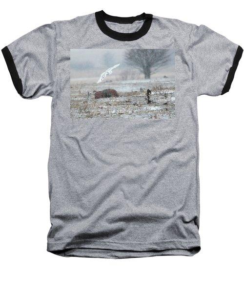 Snowy Owl In Flight 3 Baseball T-Shirt