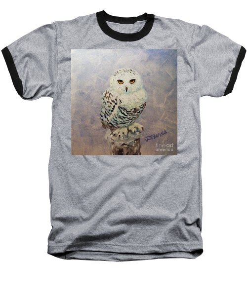 Baseball T-Shirt featuring the painting Snowy Owl by Janet McDonald