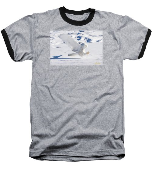 Baseball T-Shirt featuring the photograph Snowy Owl Pouncing by Rikk Flohr