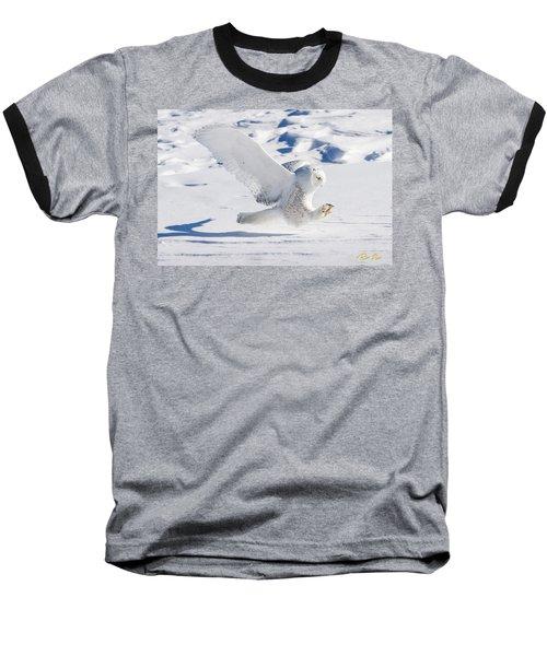 Snowy Owl Pouncing Baseball T-Shirt