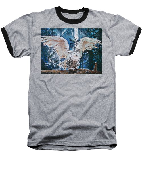 Baseball T-Shirt featuring the painting Snowy Owl On Takeoff  by Sharon Duguay