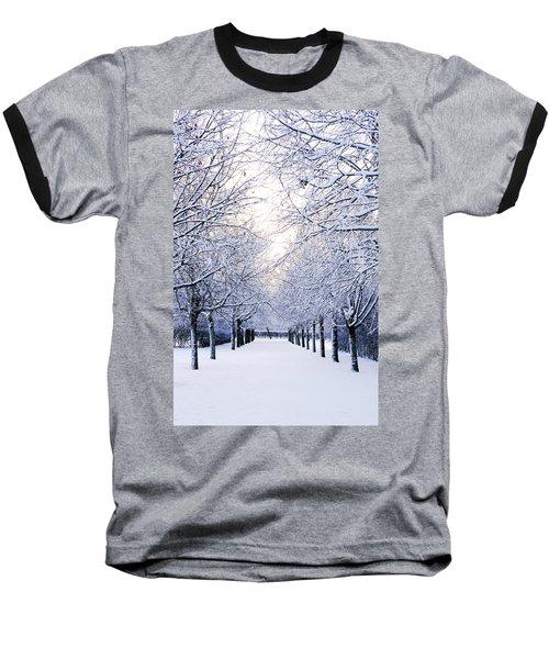 Snowy Pathway Baseball T-Shirt by Marius Sipa
