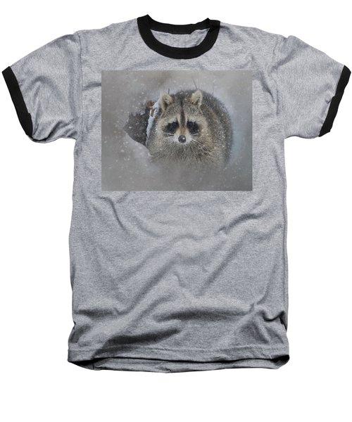 Snowy Raccoon Baseball T-Shirt