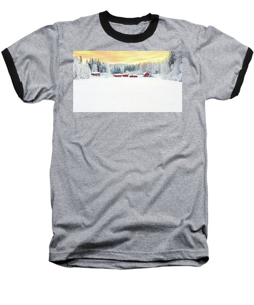 Snowy Ranch At Sunset Baseball T-Shirt