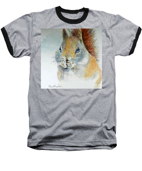 Snowy Red Squirrel Baseball T-Shirt by William Reed