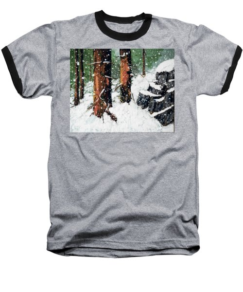 Snowy Redwood Dream Baseball T-Shirt