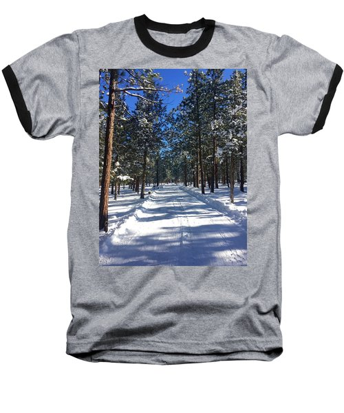 Snowy Road Baseball T-Shirt