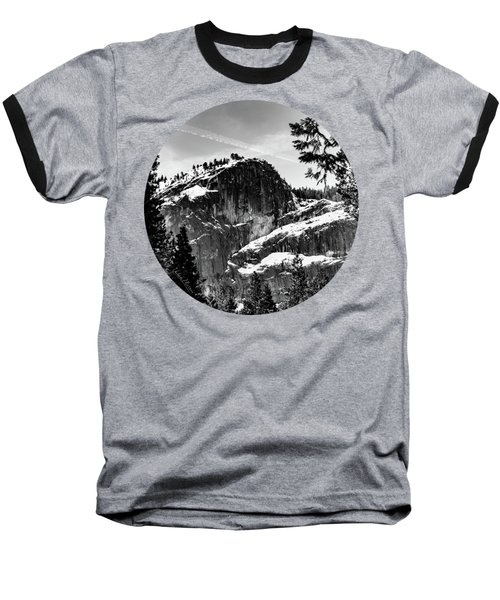 Snowy Sentinel, Black And White Baseball T-Shirt