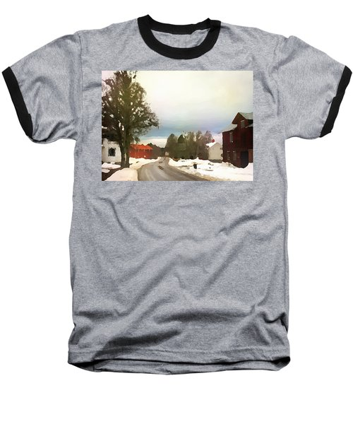 Snowy Street With Red House Baseball T-Shirt